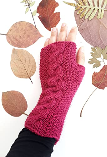 Amazon.com: Magenta cable knit gloves - Magenta gloves Fingerless ...
