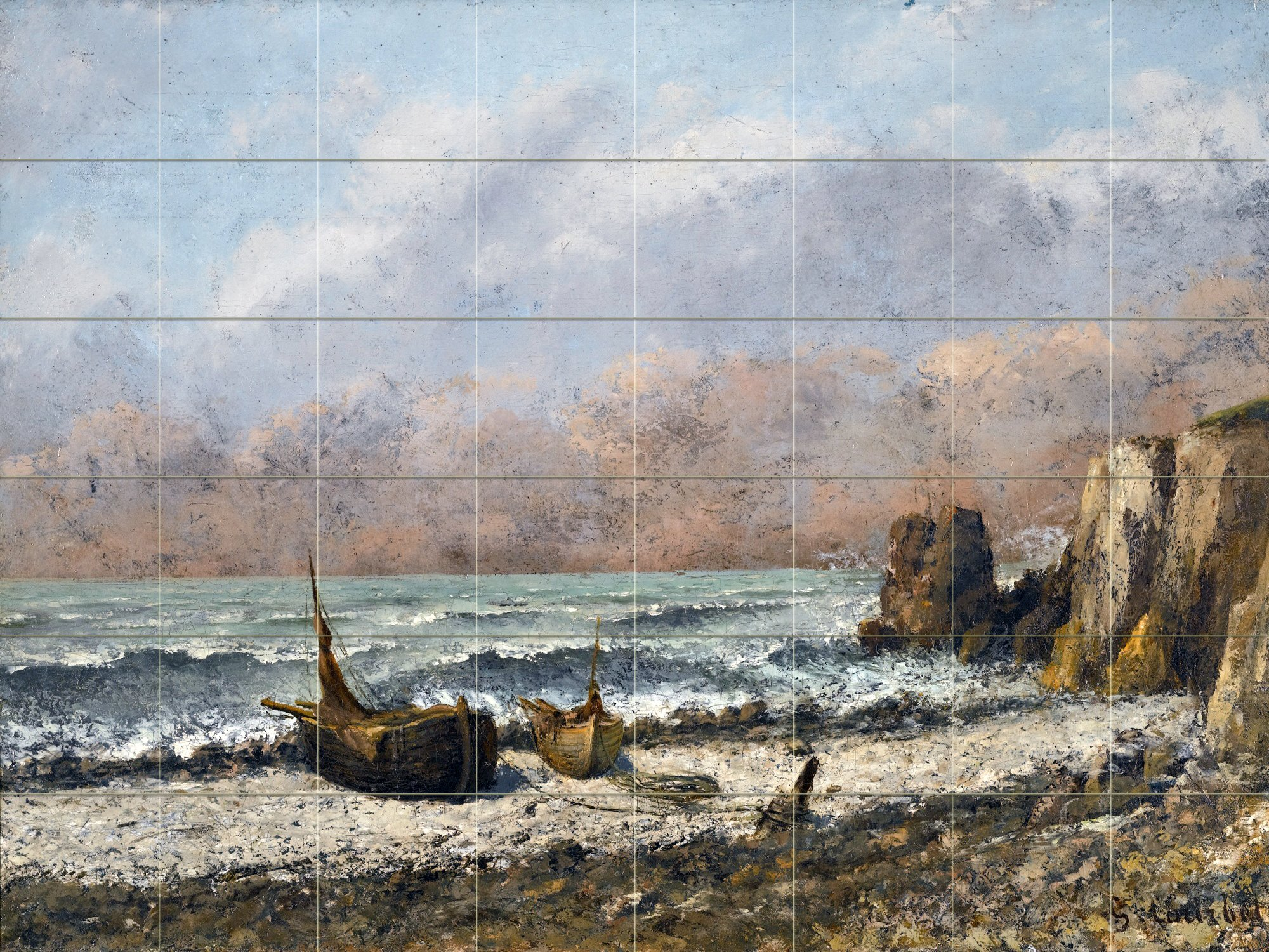 TWO BOATS ON THE BEACH by Gustave Courbet Tile Mural Kitchen Bathroom Wall Backsplash Behind Stove Range Sink Splashback 8x6 4'' Marble, Matte by FlekmanArt