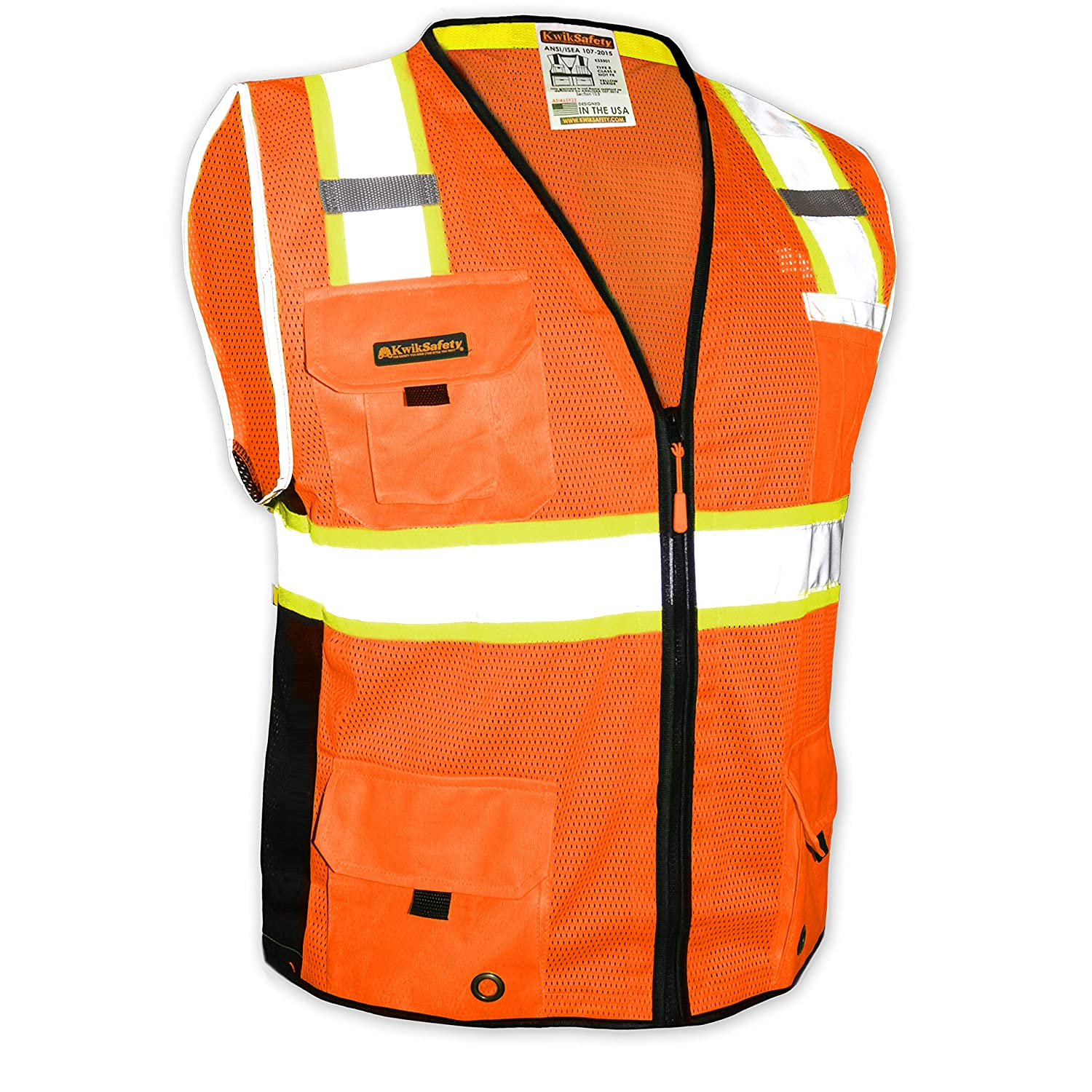 KwikSafety (Charlotte, NC) Big Kahuna Class 2 ANSI Safety Vest OSHA High Visibility Reflective Stripes Heavy Duty Mesh Pockets and Zipper Hi-Vis Construction Work Hi-Viz Surveyor Mens Orange XX-LARGE