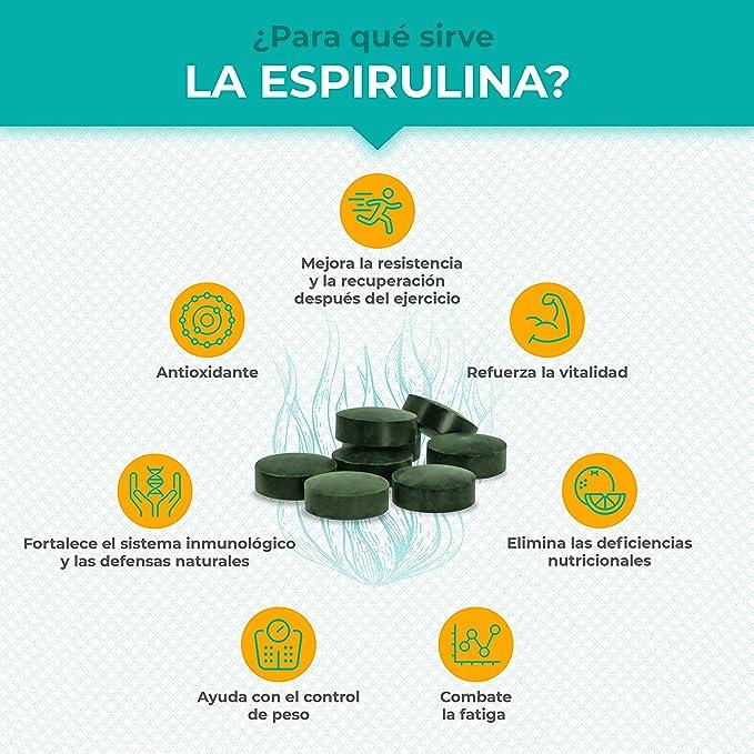 Espirulina Ecológica Suministro 6 Meses Complemento Alimenticio 540 Comprimidos 500mg Espirulina 100% BIO Vegano Ideal Deporte Musculación Detox ...