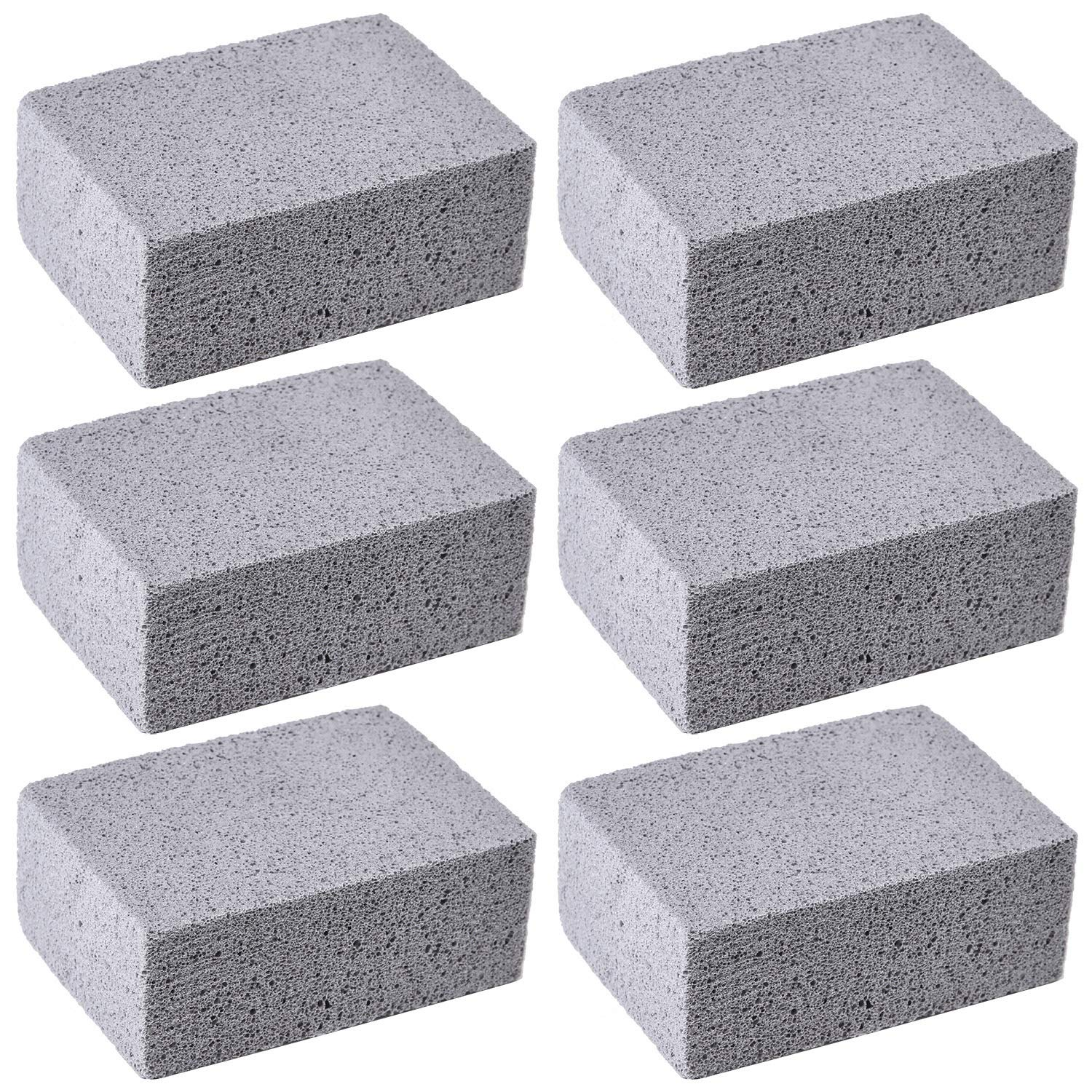 Elcoho 6 Pack Grill Griddle Cleaning Brick Block Grill Cleaning Pumice Stones for Cleaning and Removing BBQ Grills, Racks, Flat Top Cookers (6)
