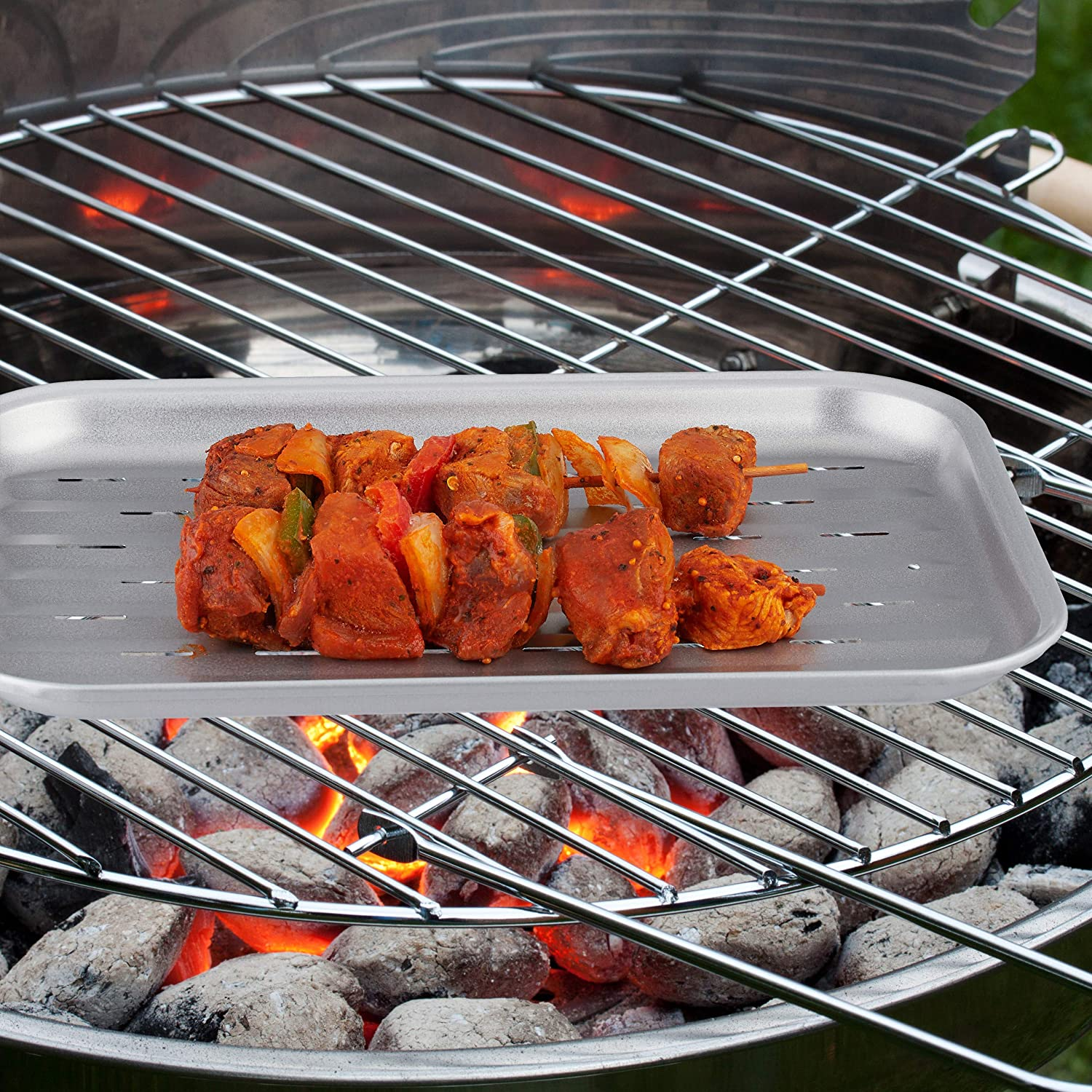 Vegetables Silver Relaxdays BBQ Pan Reusable Enjoy Barbeque Aroma Grill Tray Matt Brushed Stainless Steel