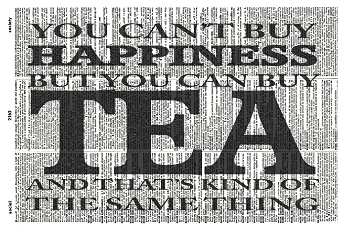 Vintage Art Tea Quote Art Print Kitchen Art Print Modern Quote Art Print You Cant Buy Happiness But You Can Buy Tea Humorous Quote Typography Artwork- Vintage Dictionary Art Print 281KLD