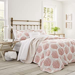 Laura Ashley | Coral Coast Collection | Quilt Set-Ultra Soft All Season Bedding, Reversible Stylish Coverlet with Matching Sham(s), Full/Queen