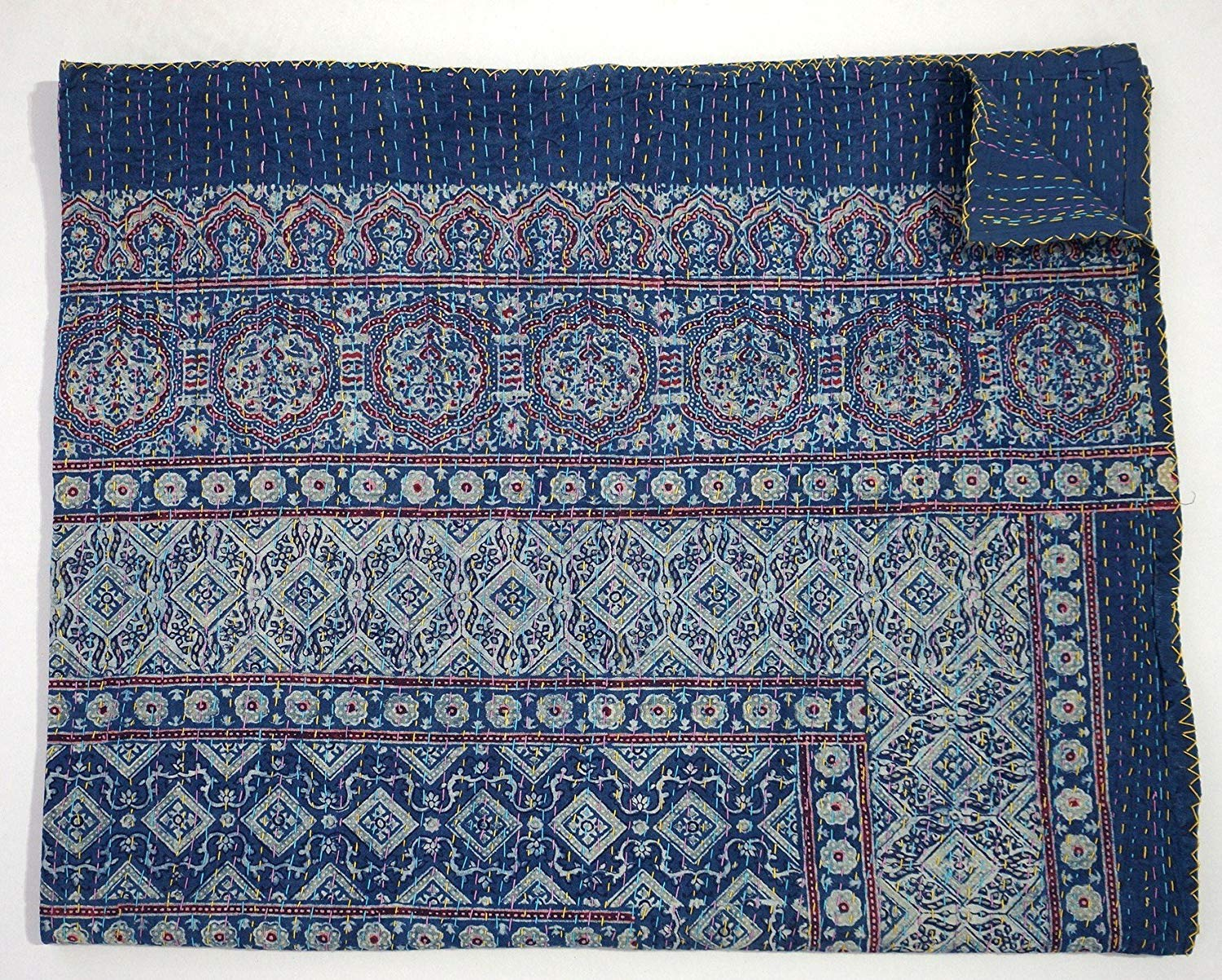 Blue Kantha Quilt, King Size Hand Stitch Kantha Ajrakh Bed-cover, Indian Bohemian Kantha Ajrakh Quilt kusum handicrafts