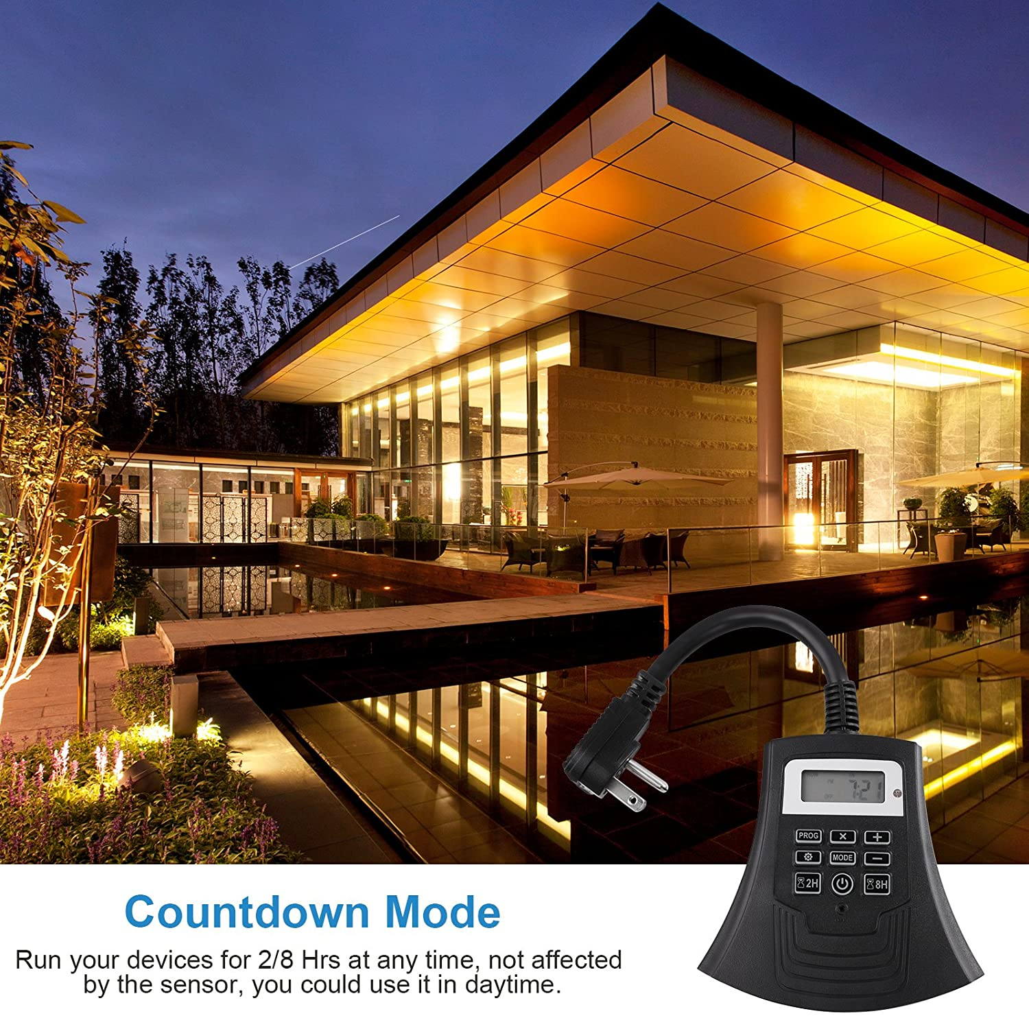 1//2HP UL Listed DEWENWILS Outdoor Electrical Light Timer Weatherproof Programmable Plug in Timer Switch with 3 Grounded Outlets for Outdoor Lights,15Amp