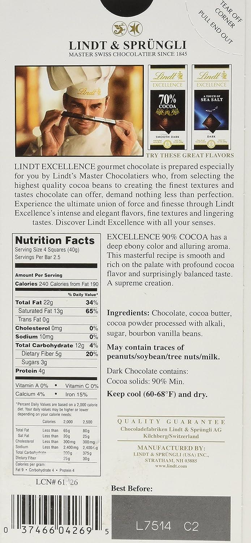 Amazon.com : Lindt Excellence 90% Cocoa Bar, Supreme Dark 3.5 oz ...