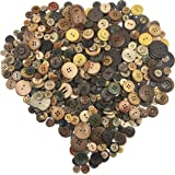 levylisa Assortment Natural Round Buttons Brown Wood Coconut Shell Buttons Flatbacks Vintage Retro Round Wood Buttons for Craft/Sewing DIY Home Textile(Assorted Retro Color)