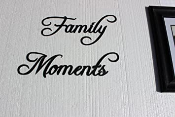 Family Moments Words Fancy Script Font Metal Wall Art Home Decor