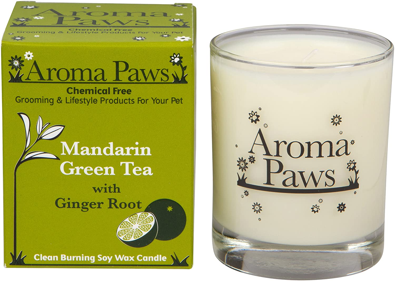 Aroma Paws Candle in Glass with Gift Box, 8-Ounce, Mandarin Green Tea 8 OZ CANDLE IN GLASS MANDARIN