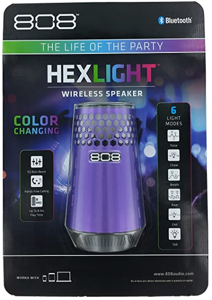 Amazon.com: 808 Audio HEX LIGHT 360-degree Portable Speaker with Bluetooth - Purple: Home Audio & Theater