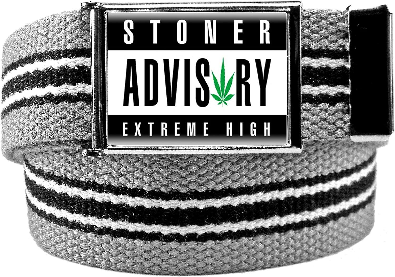 Mens Stoner Advisory Flip Top Bottle Opener Belt Buckle with Canvas Web Belt