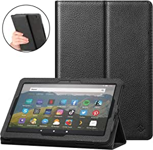 Fintie Case for All-New Amazon Fire HD 8 and Fire HD 8 Plus Tablet (10th Generation, 2020 Release) - [Flex Stand] Premium Vegan Leather Multi-Angle Folio Cover with Auto Sleep Wake, Black