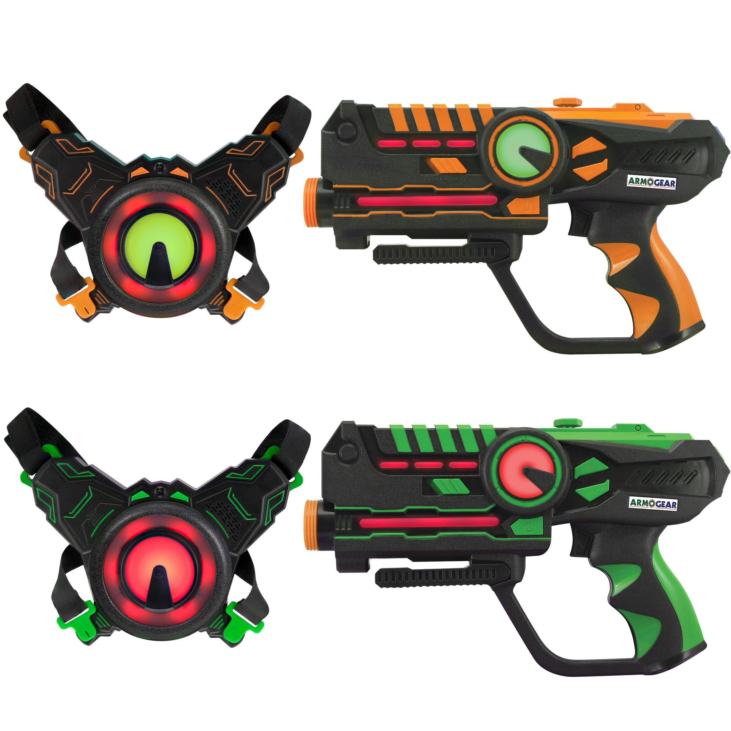 ArmoGear Infrared Laser Tag Guns and Vests - Laser Battle Game - Pack Set of 2 - Infrared 0.9mW