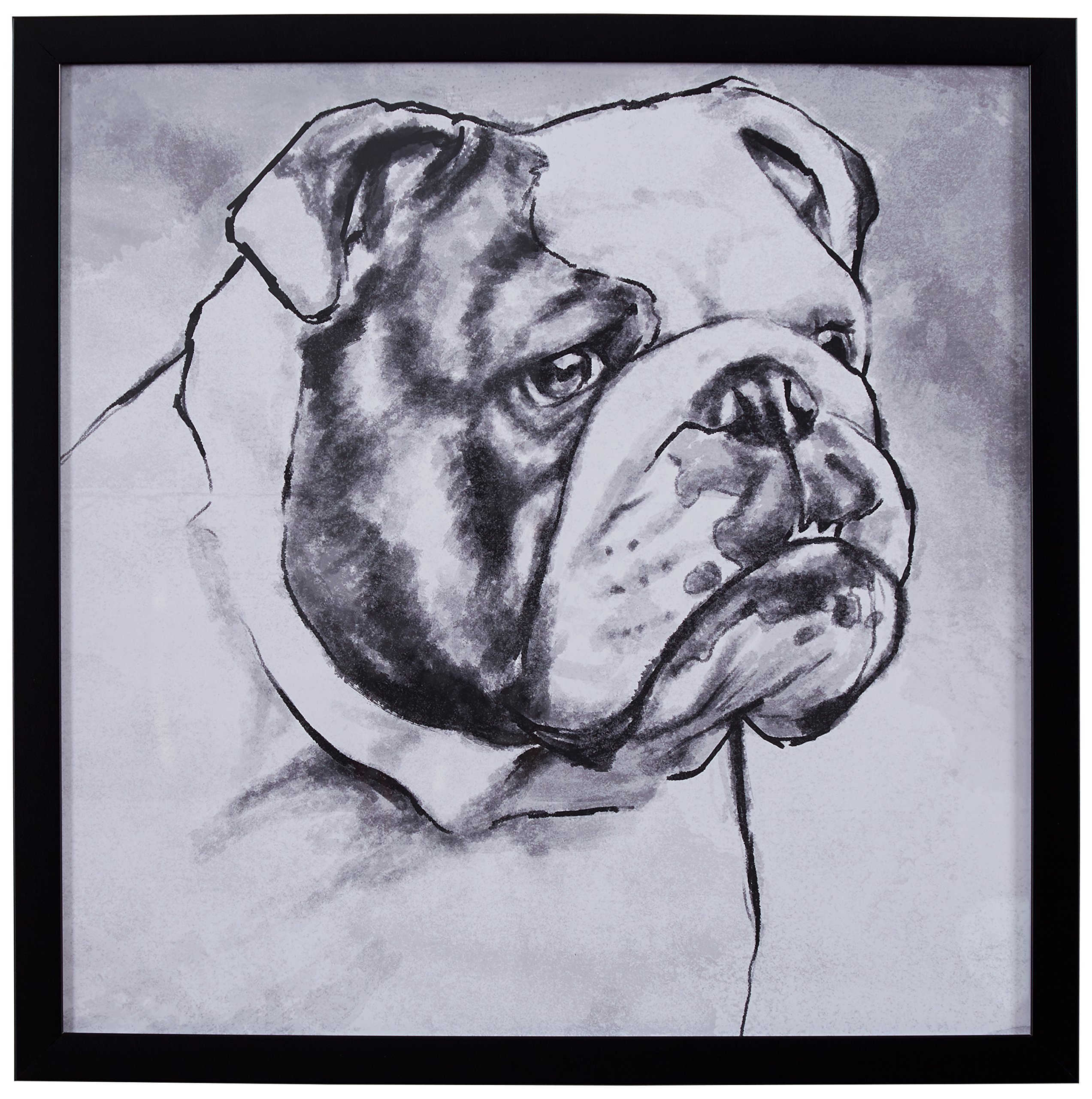 Modern Black and White Print of English Bulldog, Black Frame, 22'' x 22''