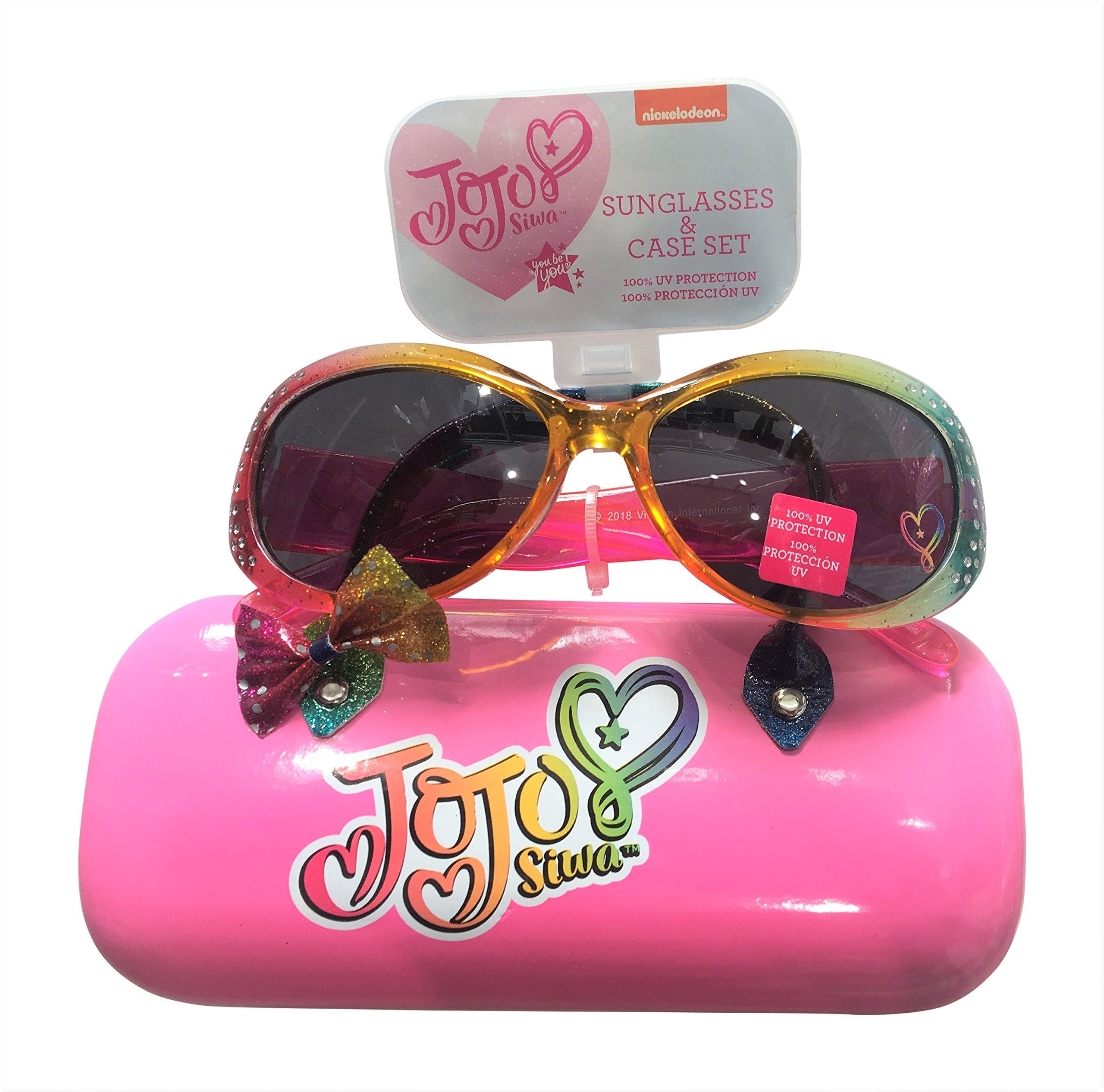 JoJo Siwa Bow Sunglasses &Hard shell Carrying Case Set - 100% UVA & UVB Protection Girls 4 - 16