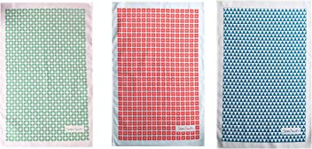 Sarah Smith Tea Towels 3 Pack | Green Leaf + Red Daisy + Blue Triangles | 100% Cotton | Includes Hanging Loop