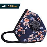 Anplus Mask Anti Pollution Mask Military Grade N99 respirator Mask With Valve Replacement Filter Washable Cotton Anti Dust Mouth Mask For Men Women Blue Flower