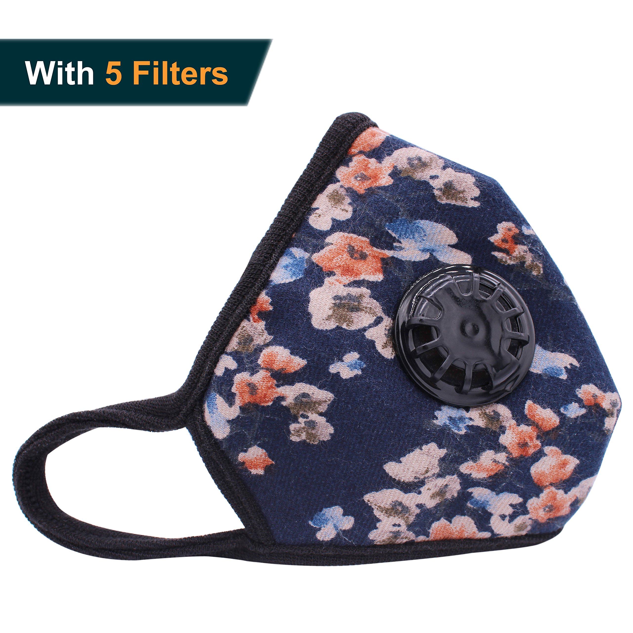 Muryobao Anti Pollution Mask Military Grade N99 Respirator Mask with Valve Replacement Filter Washable Cotton Anti Dust Mouth Mask for Men Women Blue Flower