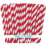 OUtside the Box Papers Striped Paper Straws 7.75 Inches Pack of 100 Red, White
