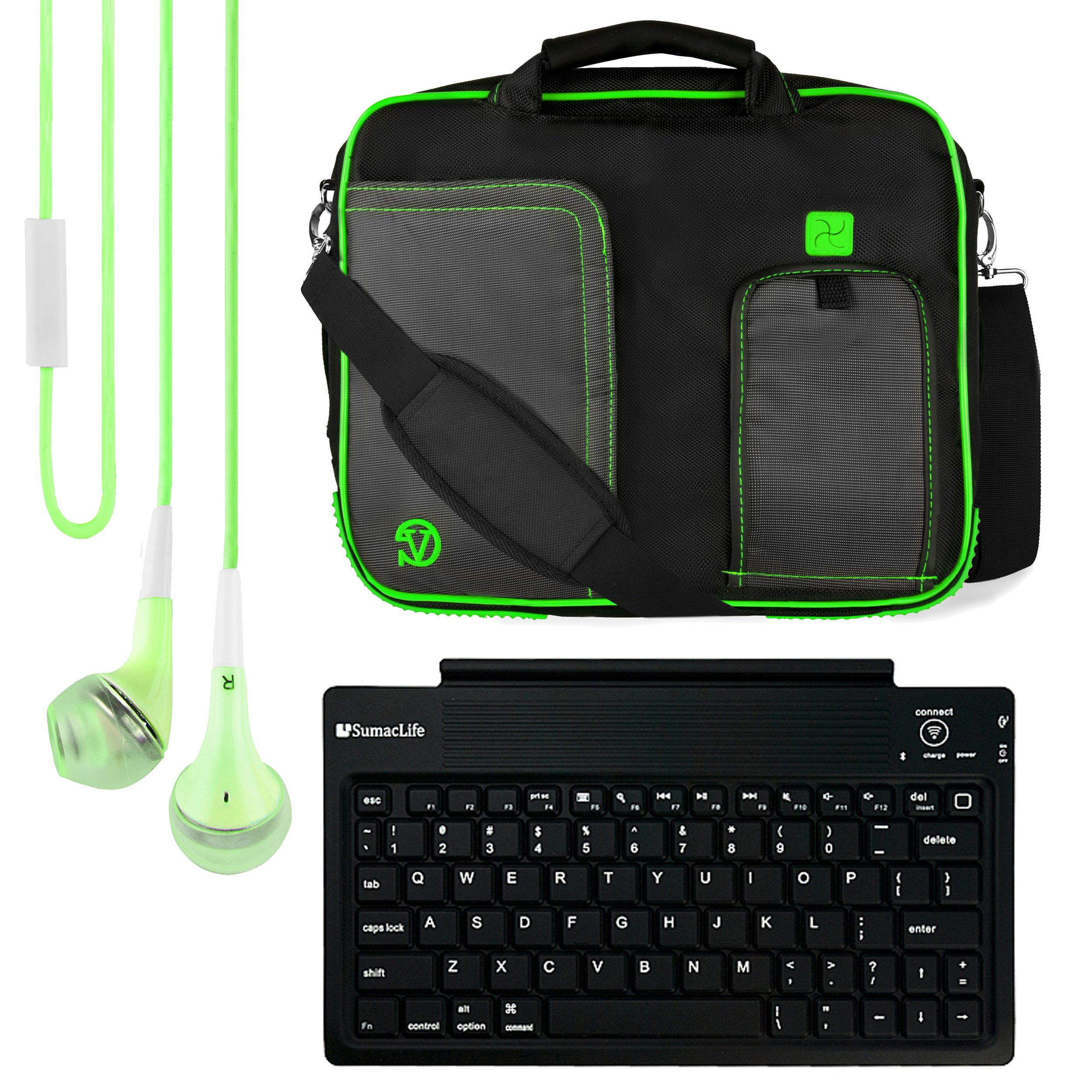 VanGoddy Pindar Messenger Carrying Bag for Samsung Galaxy Note PRO 12.2/Samsung Galaxy Tab PRO 12.2'' Tablets + Bluetooth Keyboard + Headphones (Green) by Vangoddy (Image #1)