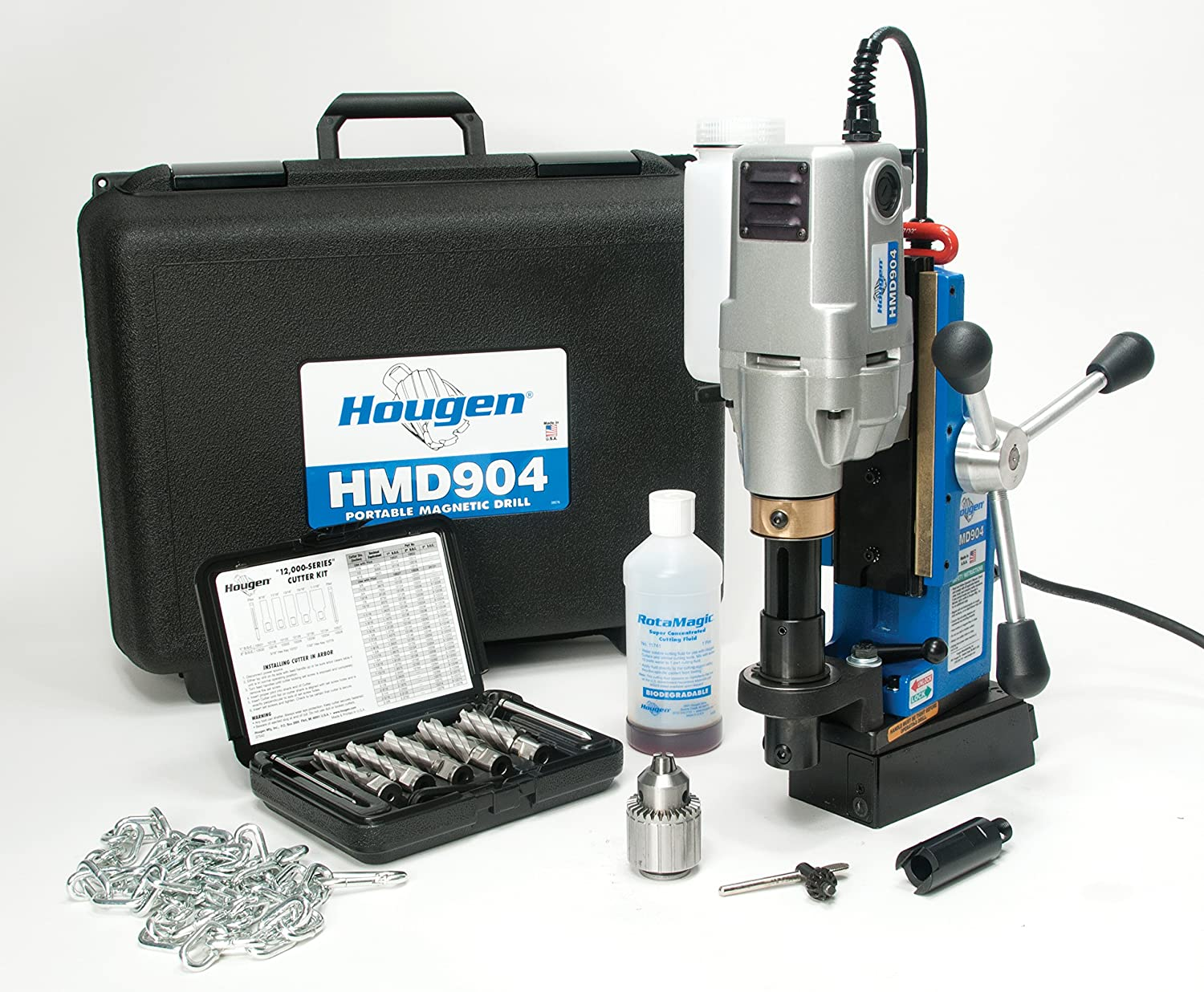 Hougen HMD904S 115-Volt Swivel Base Magnetic Drill w coolant bottle plus 1 2 drill chuck, adapter and 12002 Rotabroach Cutter kit