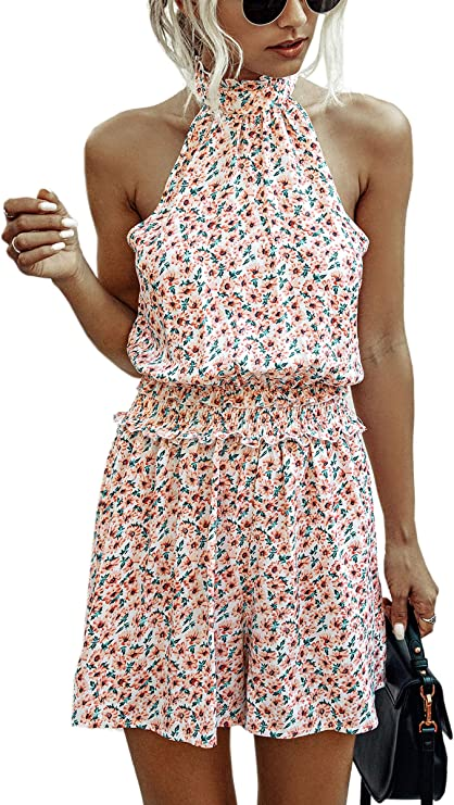 Angashion Women's Rompers - Summer Floral Ruffle Halter Neck Sleeveless Elastic Waist Romper Shorts Jumpsuit