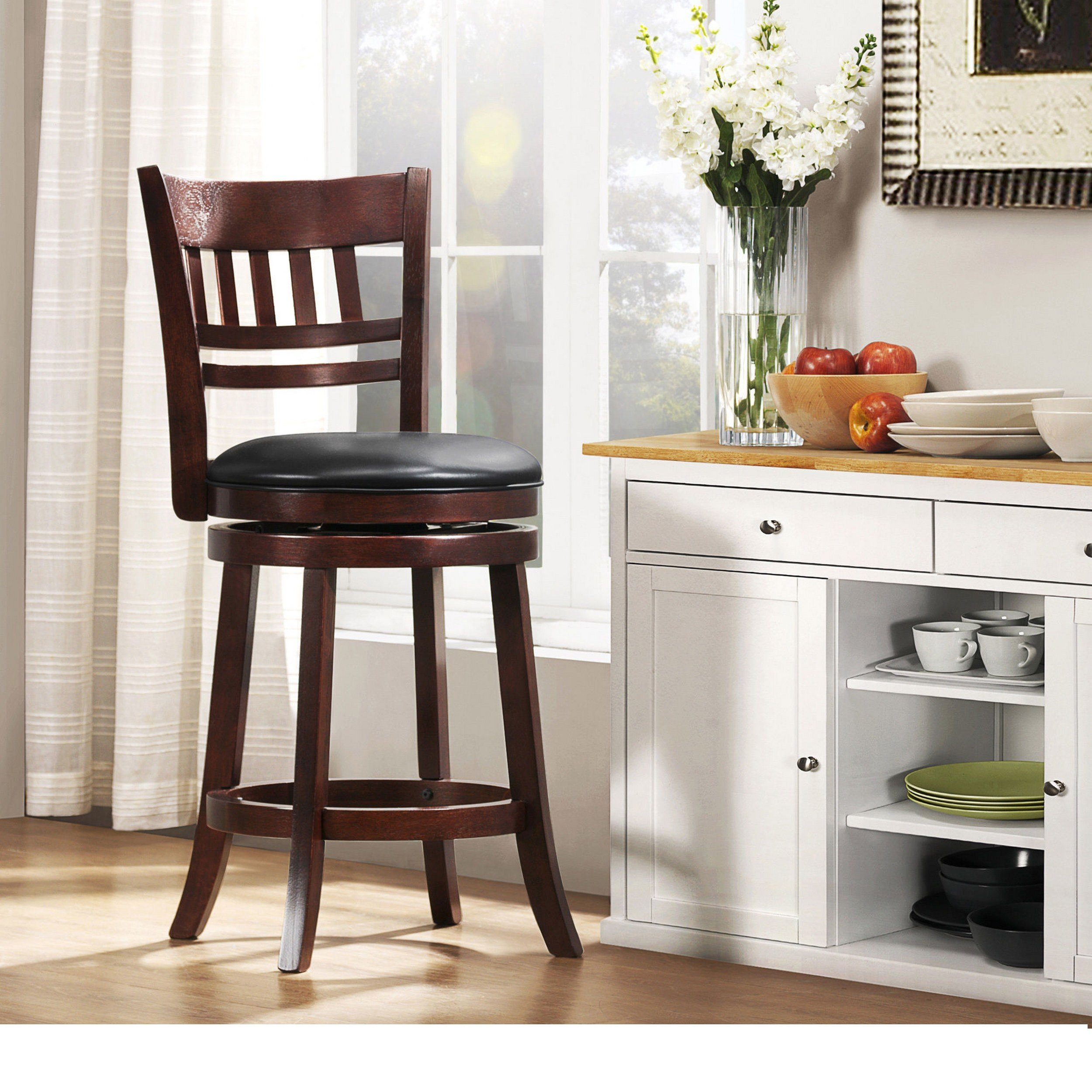 Modern Cherry Kitchen Stool Counter Height with Window Back, Black Faux Leather Seat and Swivel - Includes Modhaus Living Pen (Window Back)
