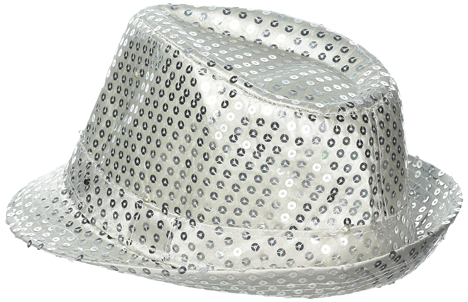 3007a51d33b77 Light-up Hat -Silver Sequin Fedora with L.E.D. Lights! Trilby led Trilby  Hats