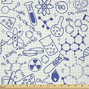Ambesonne Cartoon Fabric by The Yard, Science Chemistry Geometry Math Nerd Geek and Genius Themed Design Art, Stretch Knit Fabric for Clothing Sewing and Arts Crafts, 1 Yard, Ivory Blue