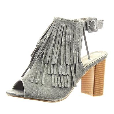 2e68fe6e563 Sopily - Chaussure Mode Sandale Bottine Ouverte Cheville Femmes Frange  Boucle Talon Haut Bloc 8 CM