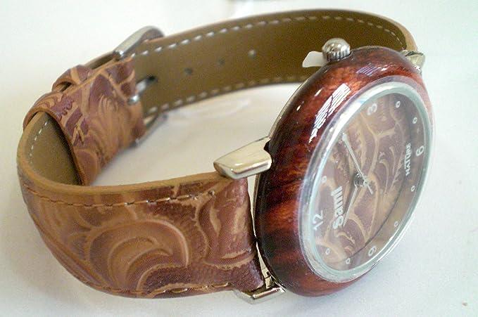 Sami RSM-55592-1 Nature Reloj de Pulsera de Mujer Corona Madera Correa Piel Marron: Amazon.es: Relojes