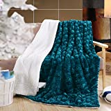 """DaDa Bedding Mermaid Scales Lavish Luxe Soft Warm Cozy Plush Reversible Faux Fur Sherpa Fleece Throw Blanket - Bright Vibrant Embossed Textured Green Blue Teal & White Back Print - 50"""" x 60"""""""