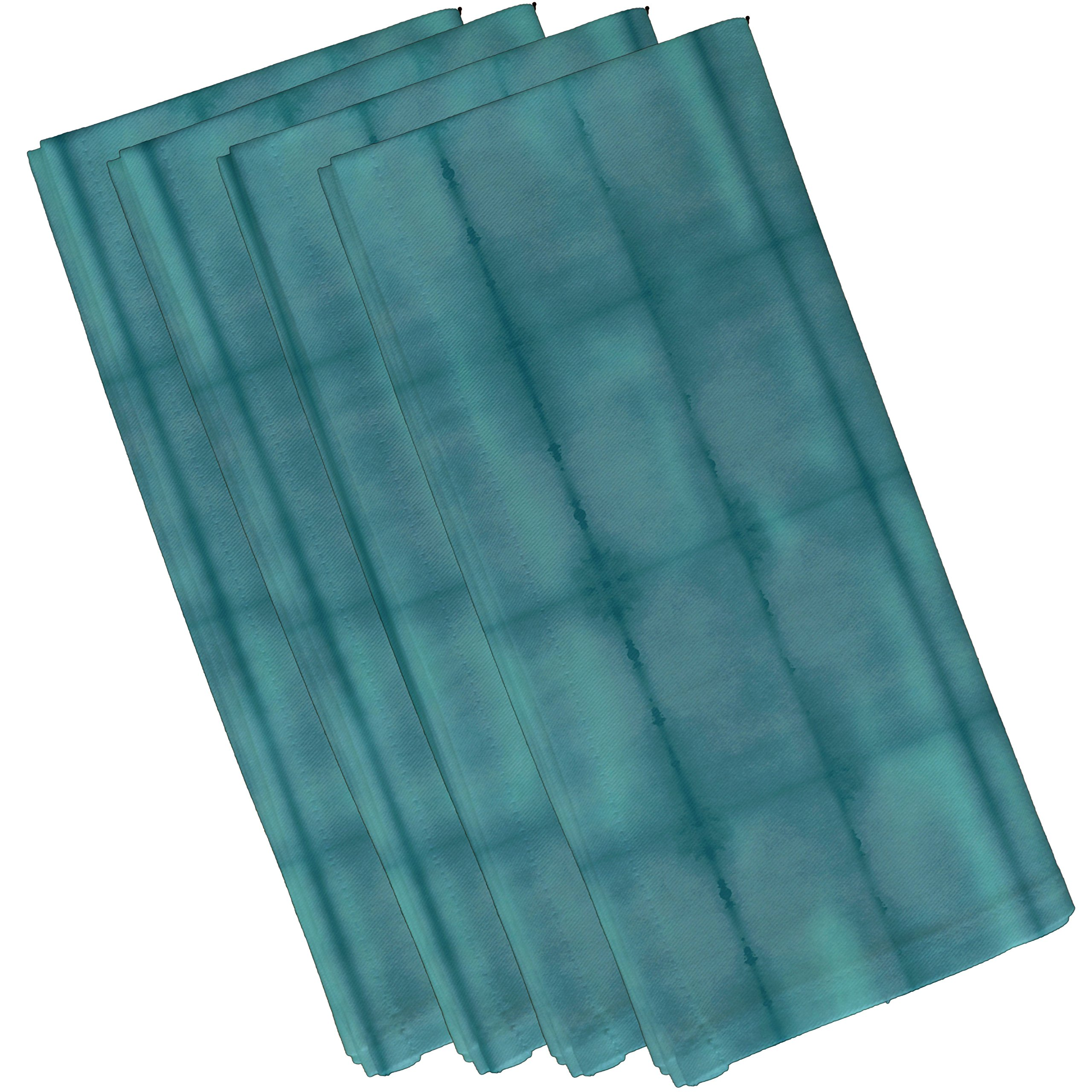E by design N4S777BL37 Pool Stripe Print Napkin (Set of 4), 19'' x 19'', Teal by E by design