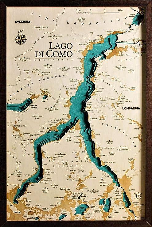 GeckoArt.it Costa Smeralda 55x68cm Quadro Mappa Cartina Map Chart Wood Laser cut