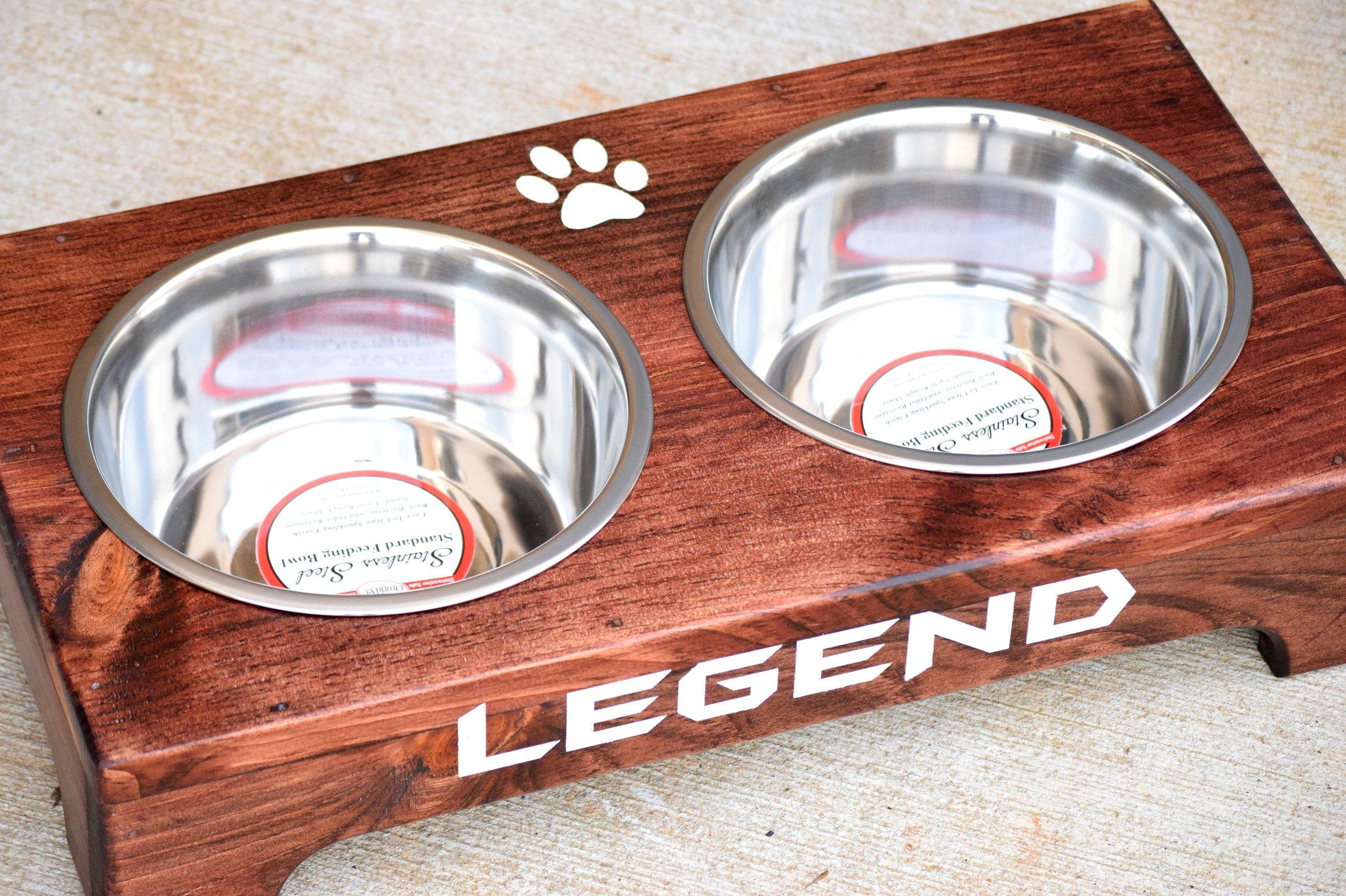 Personalized Raised Dog Feeder - Elevated Dog Bowls - Dog Bowl Feeder - Rustic Dog Bowl Stand - Raised Dog Bowl Feeder Elevated Dog Feeder