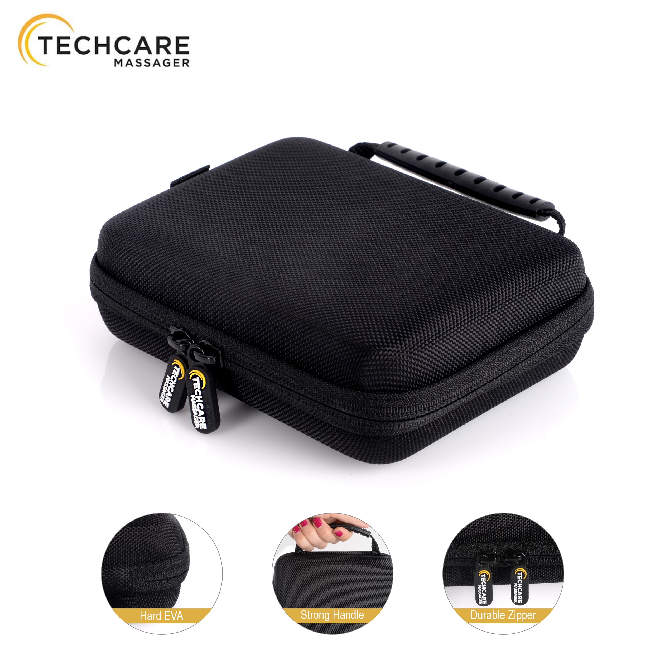 TechCare Massager Travel Case Carry Protective Tens Unit Machine Protective Hard Carrying Case for SE MINI S PRO Elite Models
