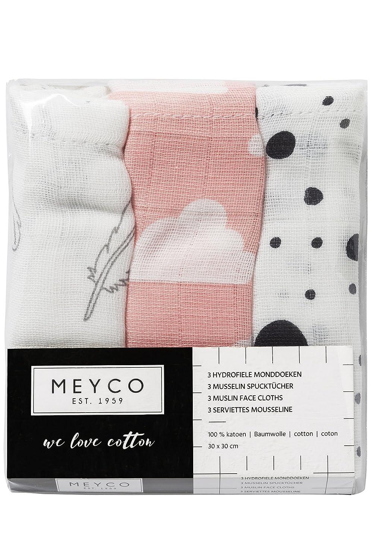 Meyco 451007 Mull//Musselin Puckt/ücher 3er Set 120x120cm FEDERN-WOLKE-DOTS Grau-Rosa-Schwarz-Wei/ß