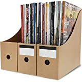Kraft Corrugated Cardboard Magazine File Holders with Labels (8 Pack)