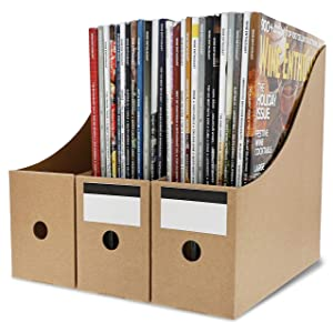Juvale 8-Pack Kraft Corrugated Cardboard Magazine File Holders with Labels
