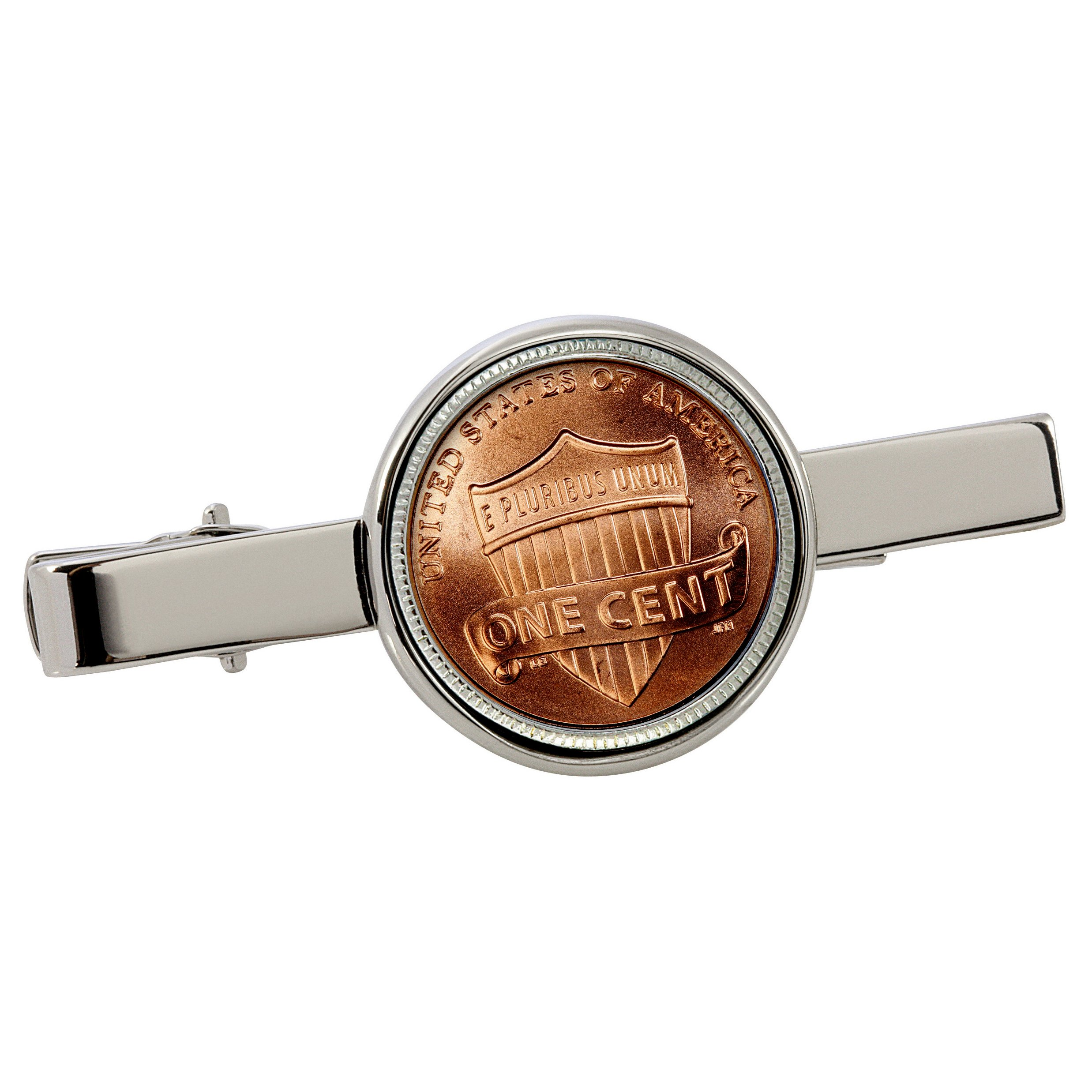 American Coin Treasures Lincoln Union Shield Penny Silvertone Coin Tie Clip