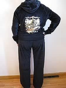 Adultos Juicy Couture Chándal 1 x negro terciopelo chaqueta ...