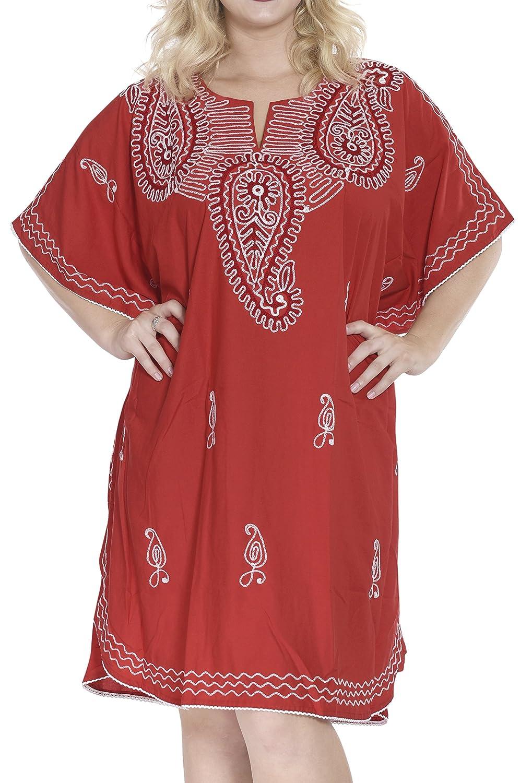 LA LEELA Frauen Damen Rayon Kaftan Tunika Bestickt Kimono freie Größe kurz Midi Party Kleid für Loungewear Urlaub Nachtwäsche Strand jeden Tag Kleider AR