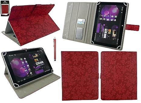 Emartbuy® bq Aquaris M10 Tablet 10.1 Pulgada Universal Range Vintage Floral Rojo Ángulo Múltiples Executive Folio Funda Carcasa Wallet Case Cover con ...