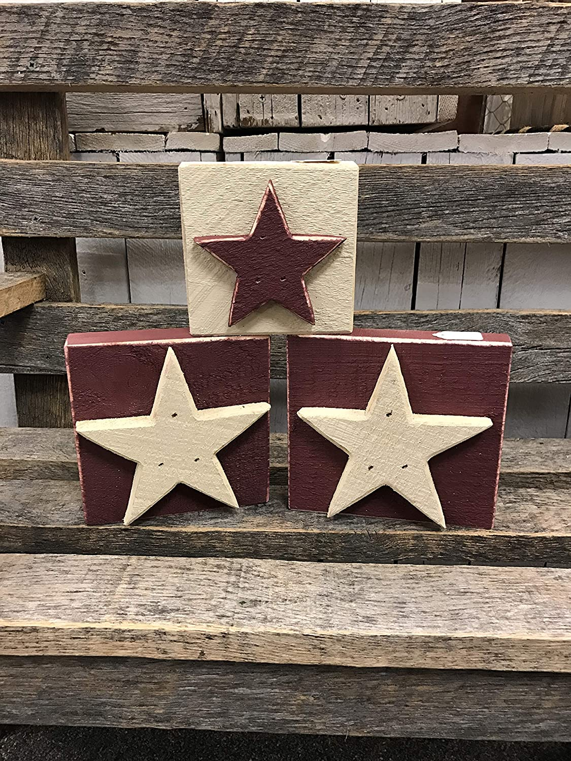 Amazon Com Star Wood Blocks Set Of Three Farmhouse Primitive Americana Country Rustic Home Decor Tabletop Shelf Ornament July 4 Patriotic Stars And Stripes Size 3 1 2 X 3 1 2 Handmade