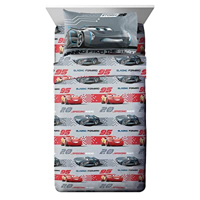 Disney/Pixar Cars 3 Movie Editorial Gray/Red 4 Piece Full Sheet Set with Lightning McQueen & Jackson Storm (Official Disney/Pixar Product): Home & Kitchen