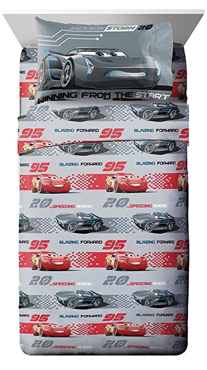 Disney Pixar Cars 3 Movie Editorial Gray/Red 3 Piece Twin Sheet Set with Lightning
