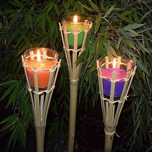Juego de 4 Bambú antorcha aprox. 75 cm antorcha de jardín con citronela) Vela en cristal: Amazon.es: Jardín