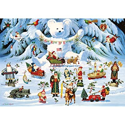 Buffalo Games - Holiday Collection - Charles Wysocki - Jingle Bell Teddy and Friends - 300 Large Piece Jigsaw Puzzle: Toys & Games [5Bkhe0303998]