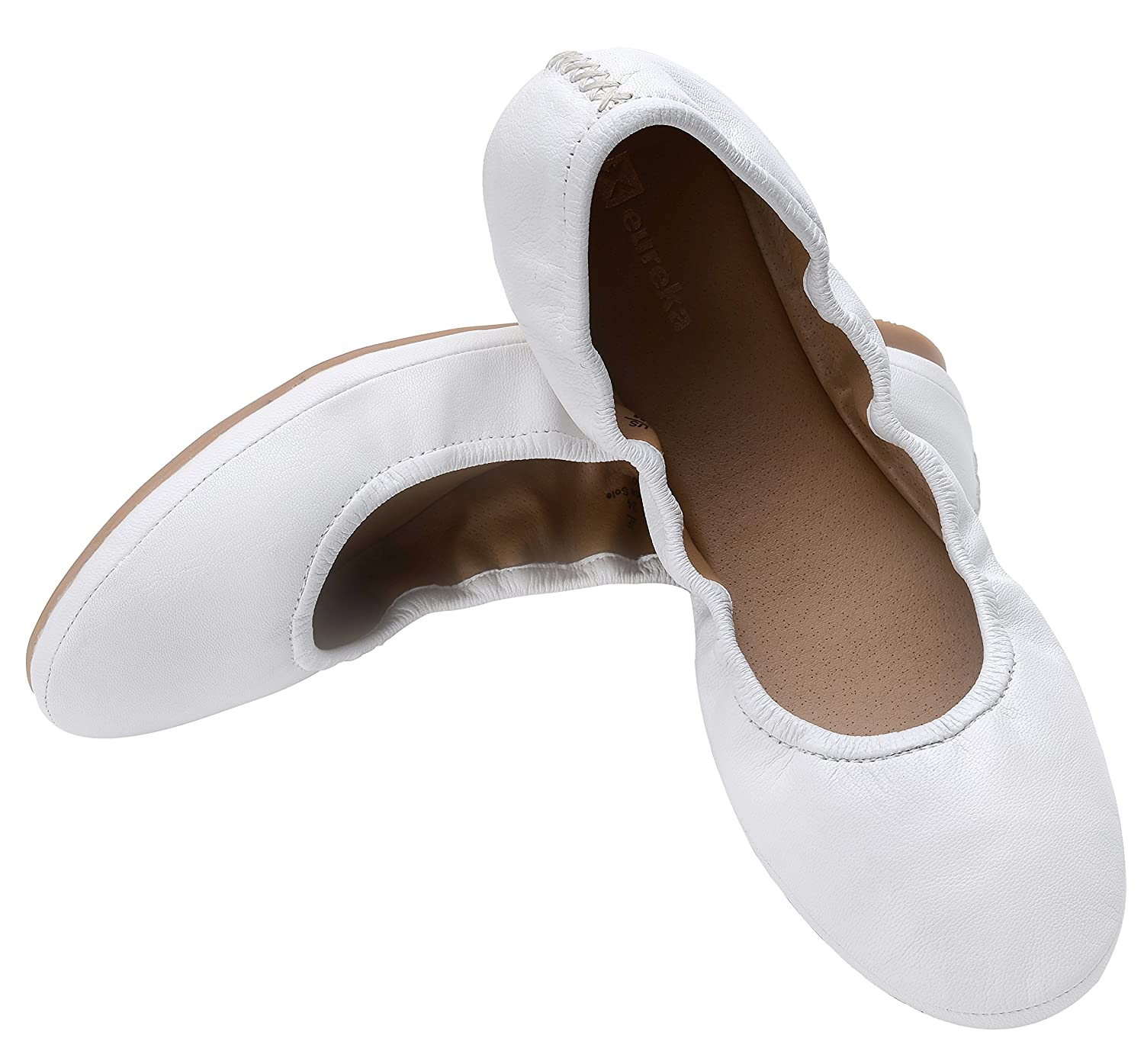 Eureka USA Women's Audrey Leather Ballet Flat B074V3F2X8 9 B(M) US|202 Cream White